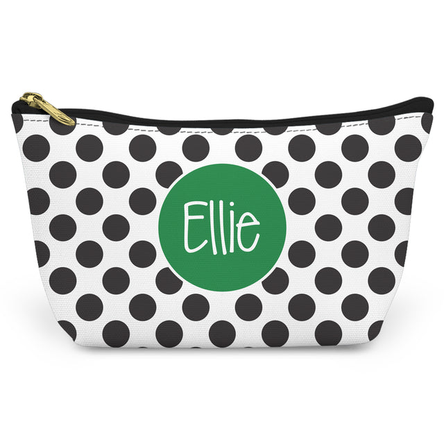 Black Polka Dots Canvas T-Bottom Pouch - milogiftshop