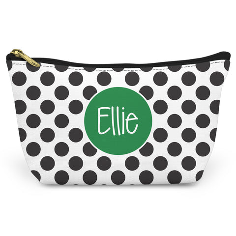 Black Polka Dots Canvas T-Bottom Pouch