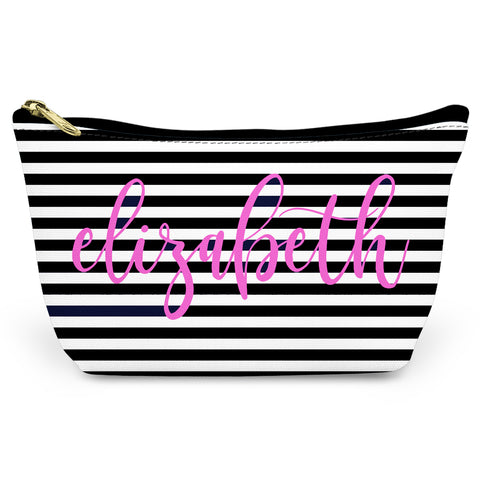 Black Stripes Canvas T-Bottom Pouch