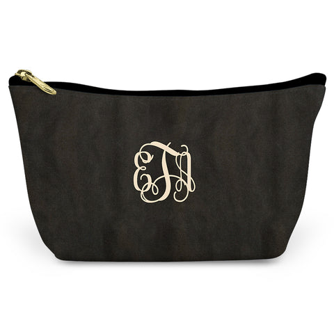 Monogrammed Elegance Canvas T-Bottom Pouch