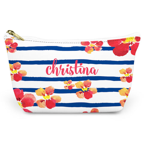 Nautical Blooms Canvas T-Bottom Pouch