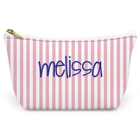 Pink Stripes Canvas T-Bottom Pouch