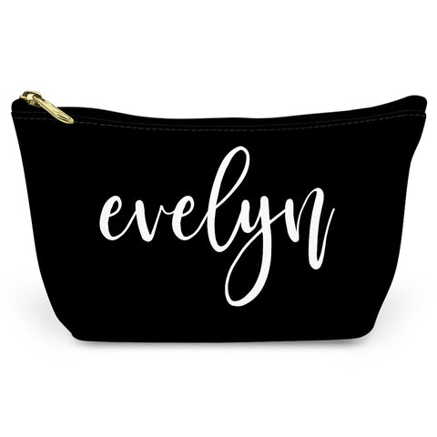 Black Simple Script Canvas T-Bottom Pouch