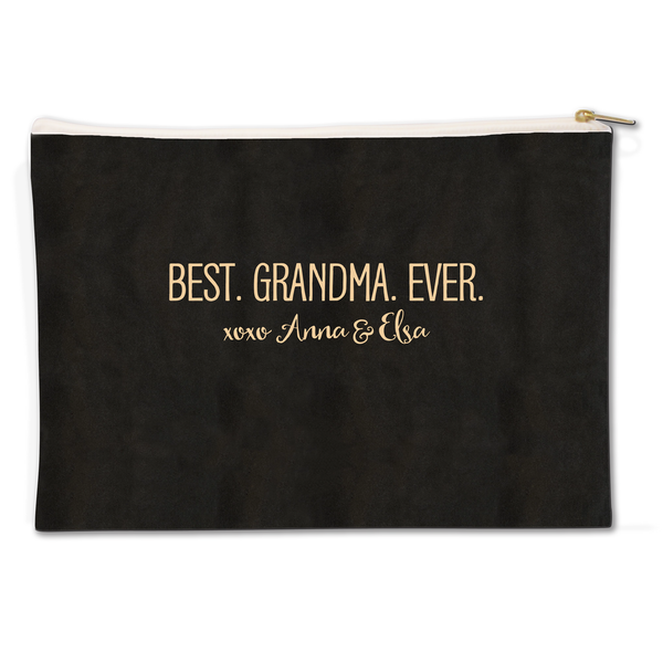 Best Grandma Canvas Flat Pouch