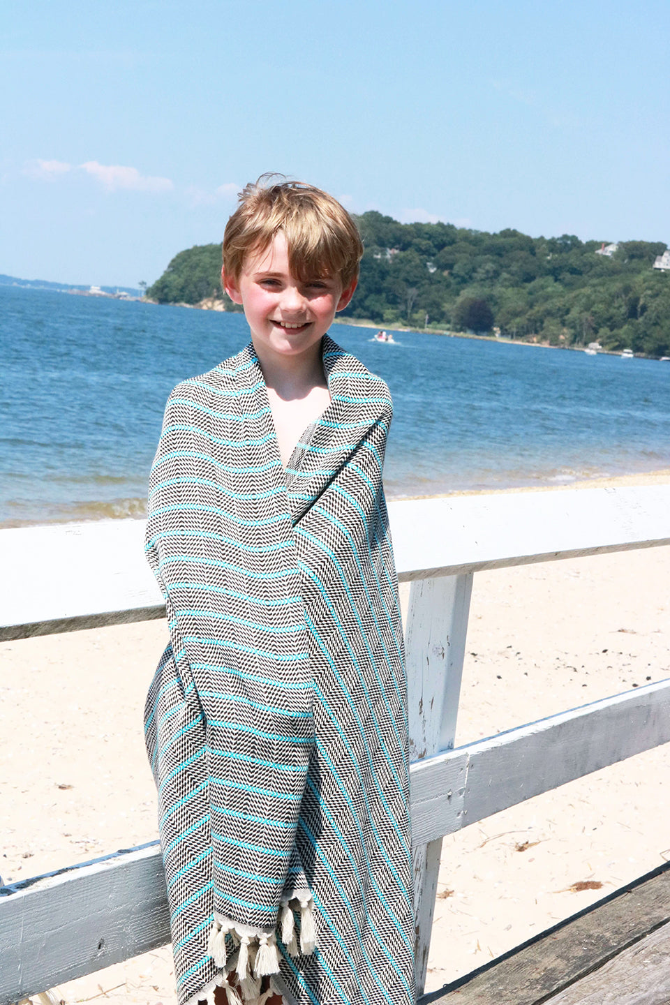 Black Aqua Stripe Quick Dry Peshtemal Turkish Towel - milogiftshop