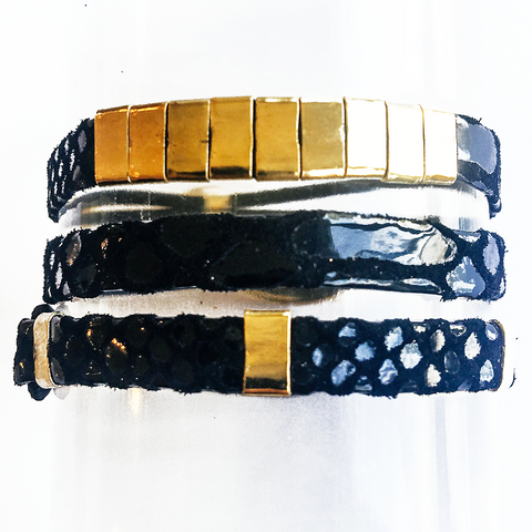 Black Leather Hair Band Bracelet Stack
