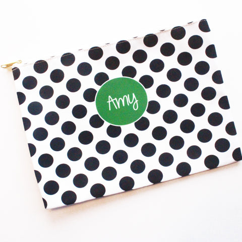 Sample Sale: Black Dots Large Flat Pouch