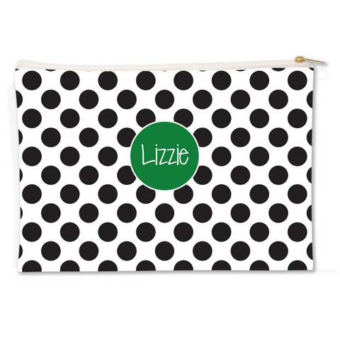 Black Polka Dots Canvas Flat Pouch