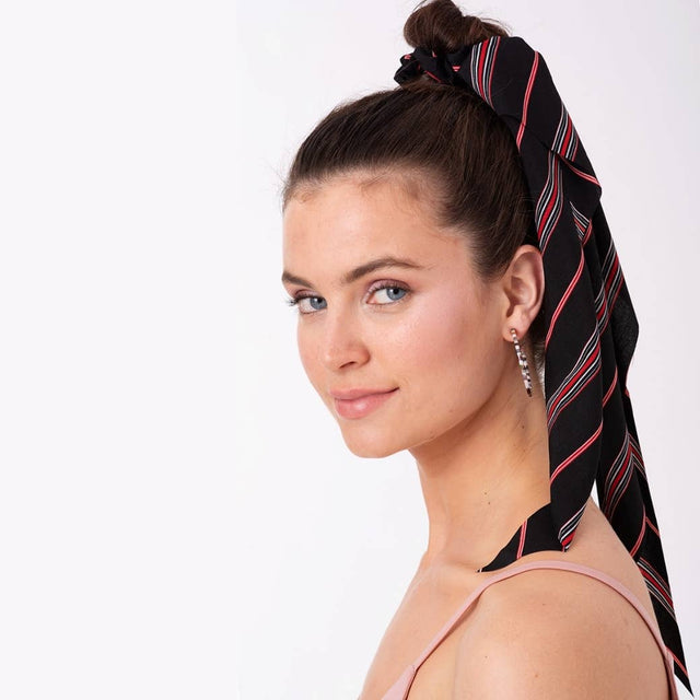 Black Stripe Ponytail Scarf Scrunchie - milogiftshop