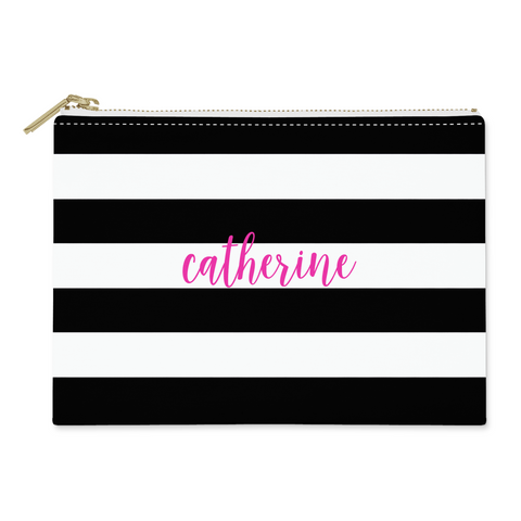 Black Stripes Canvas Flat Pouch