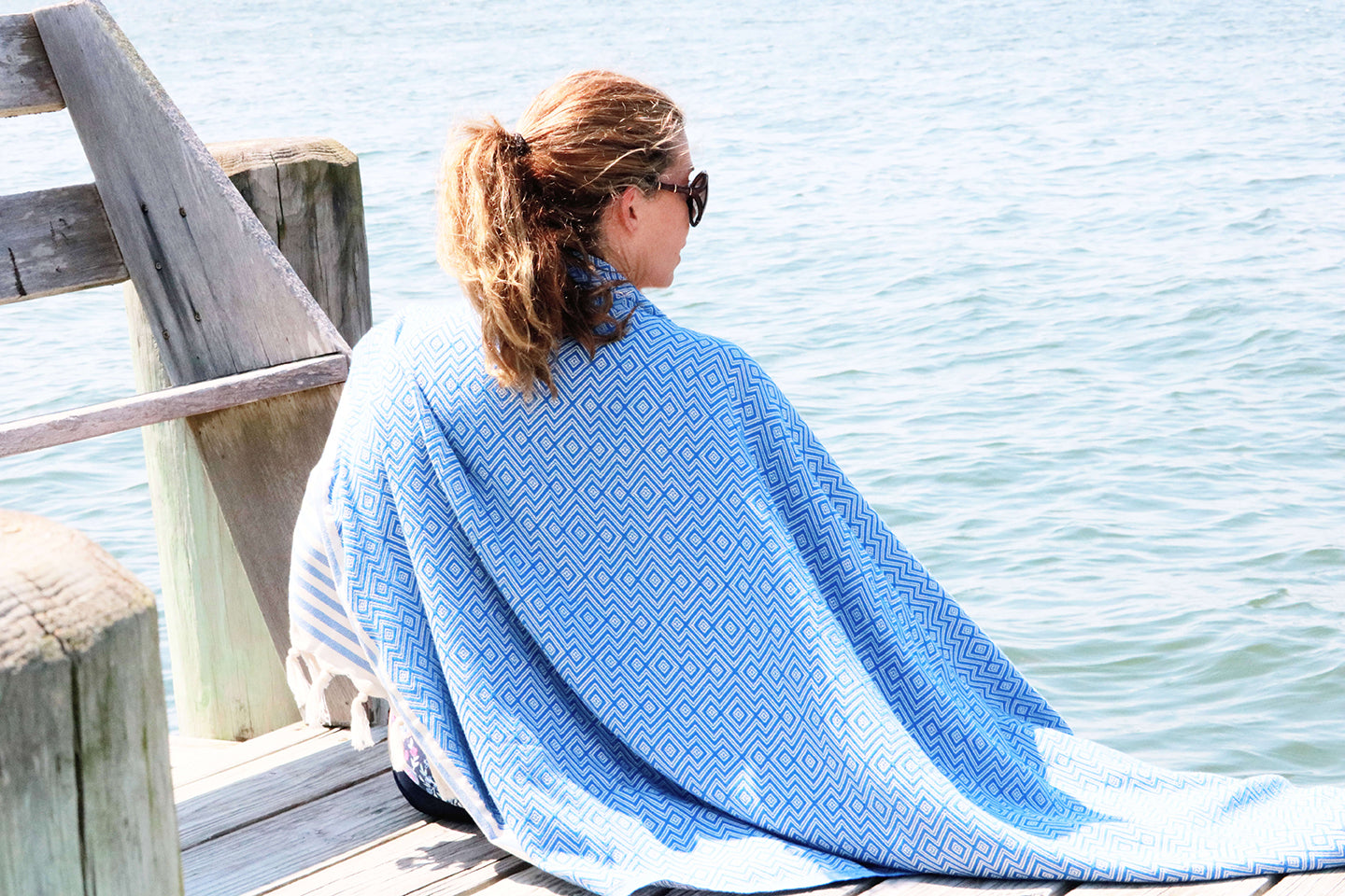 Diamond Blue Quick Dry Peshtemal Turkish Towel - milogiftshop