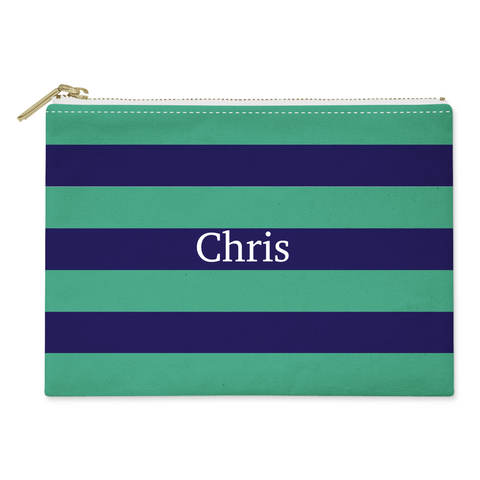 Blue Green Stripes Canvas Flat Pouch