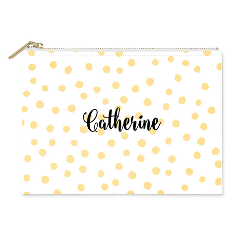Polka Dots Canvas Flat Pouch