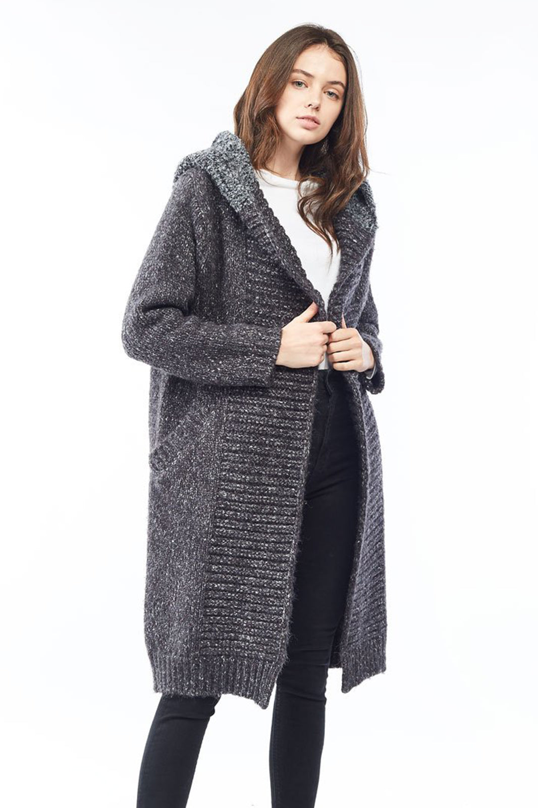 Charcoal Chunky Hoodie Heather Cardigan