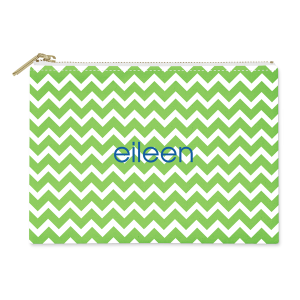 Chevron Green Canvas Flat Pouch