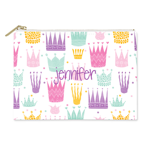 Crowns Canvas Flat Pouch