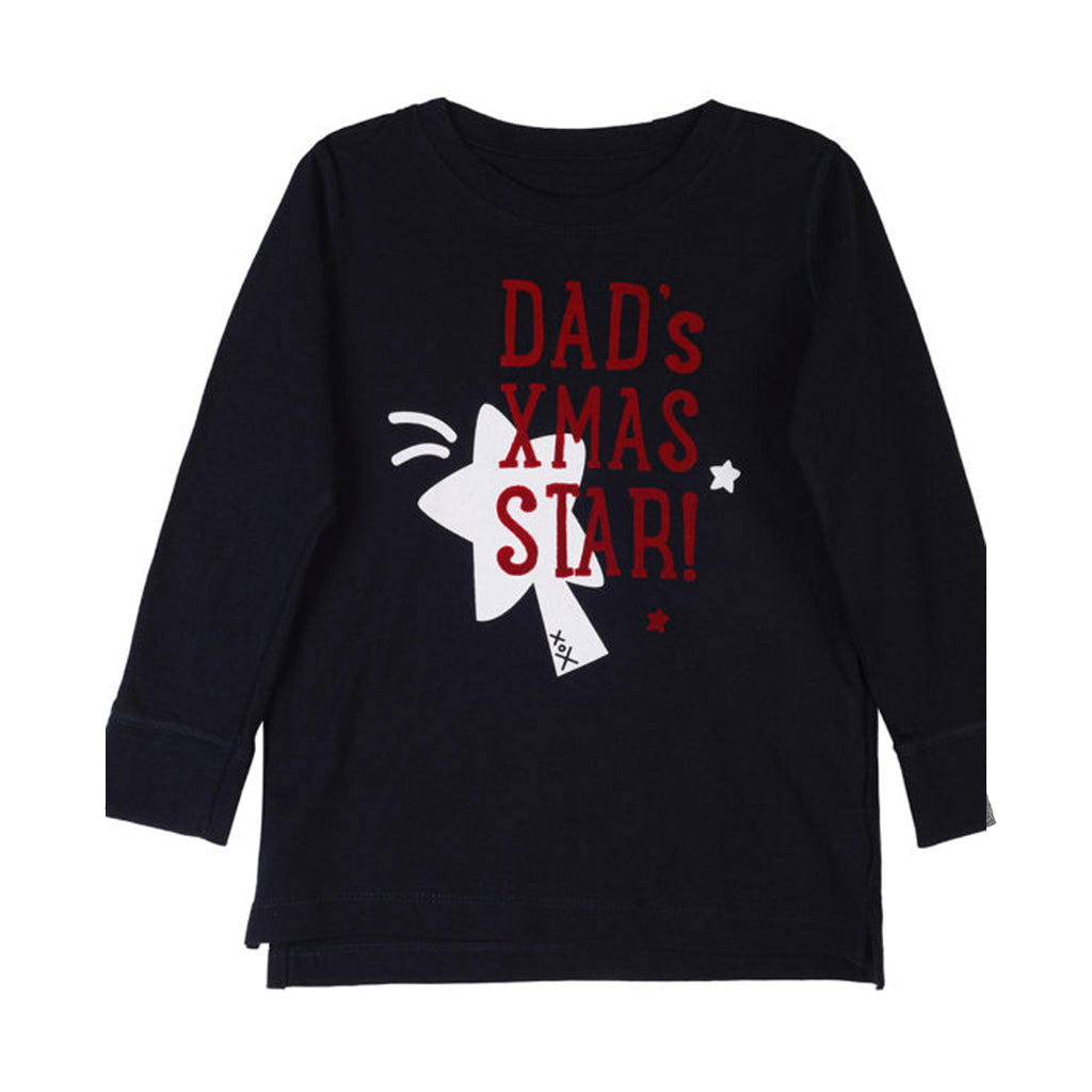 Dad's XMAS Star Midnight Blue Long Sleeve T-Shirt - milogiftshop