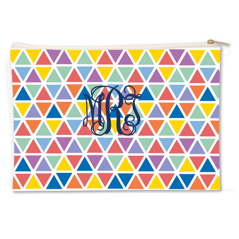 Diamonds Canvas Flat Pouch