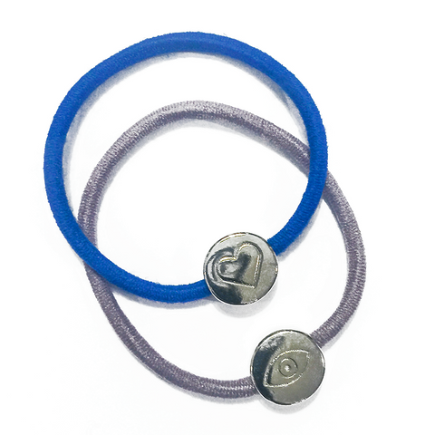 Silver Heart and Evil Eye Hair Band Bracelets