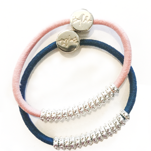 Embellished Silver Blue Pink Hair Band Bracelets