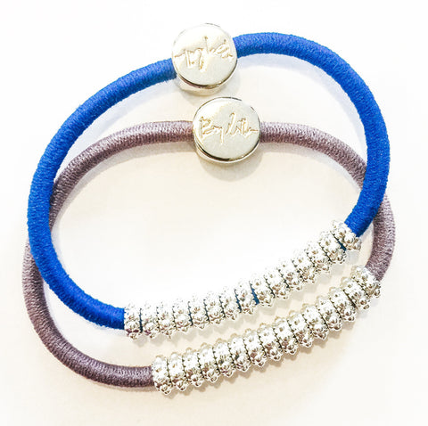 Embellished Silver Purple Blue Hair Band Bracelets - SOLD OUT PLEASE EMAIL US