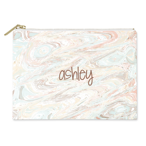 Marble Pale Canvas Flat Pouch