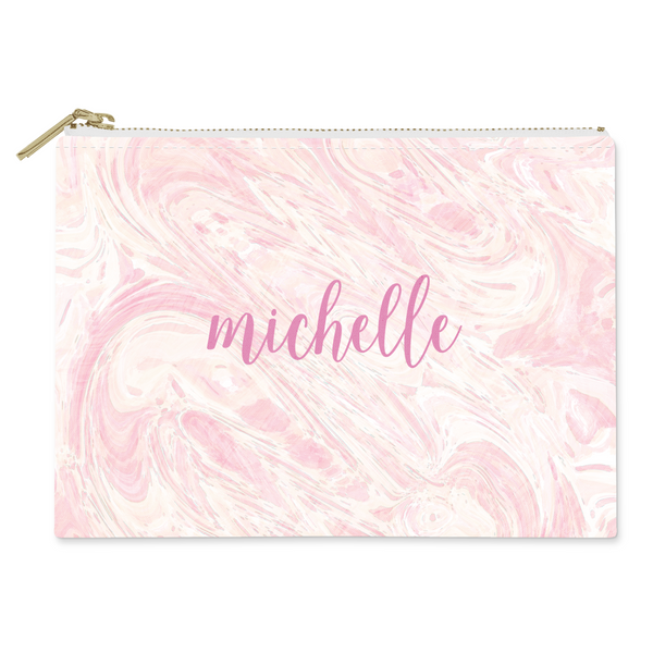 Marble Pink Canvas Flat Pouch