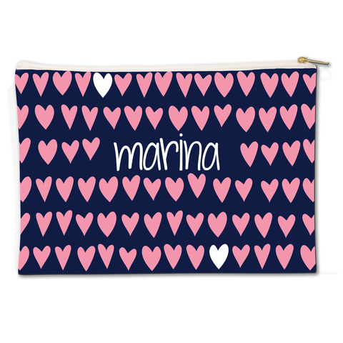 Modern Hearts Canvas Flat Pouch