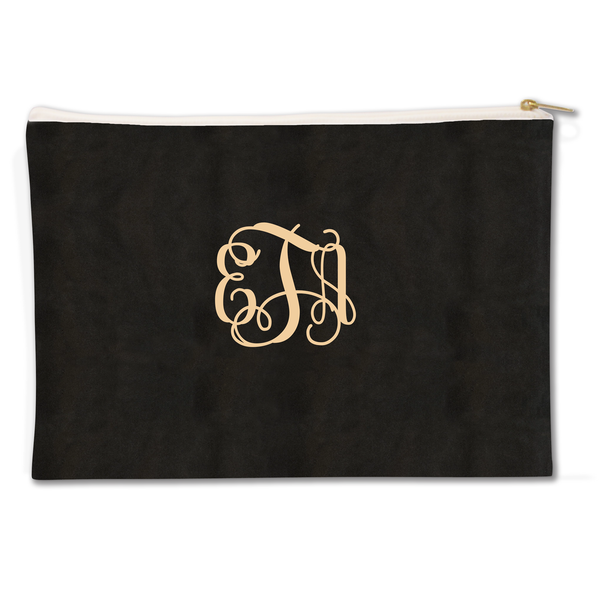 Monogrammed Elegance Canvas Flat Pouch