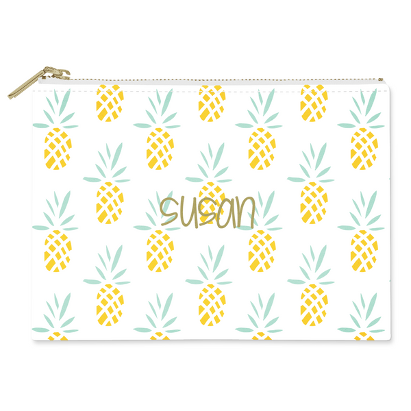 Pineapples Canvas Flat Pouch