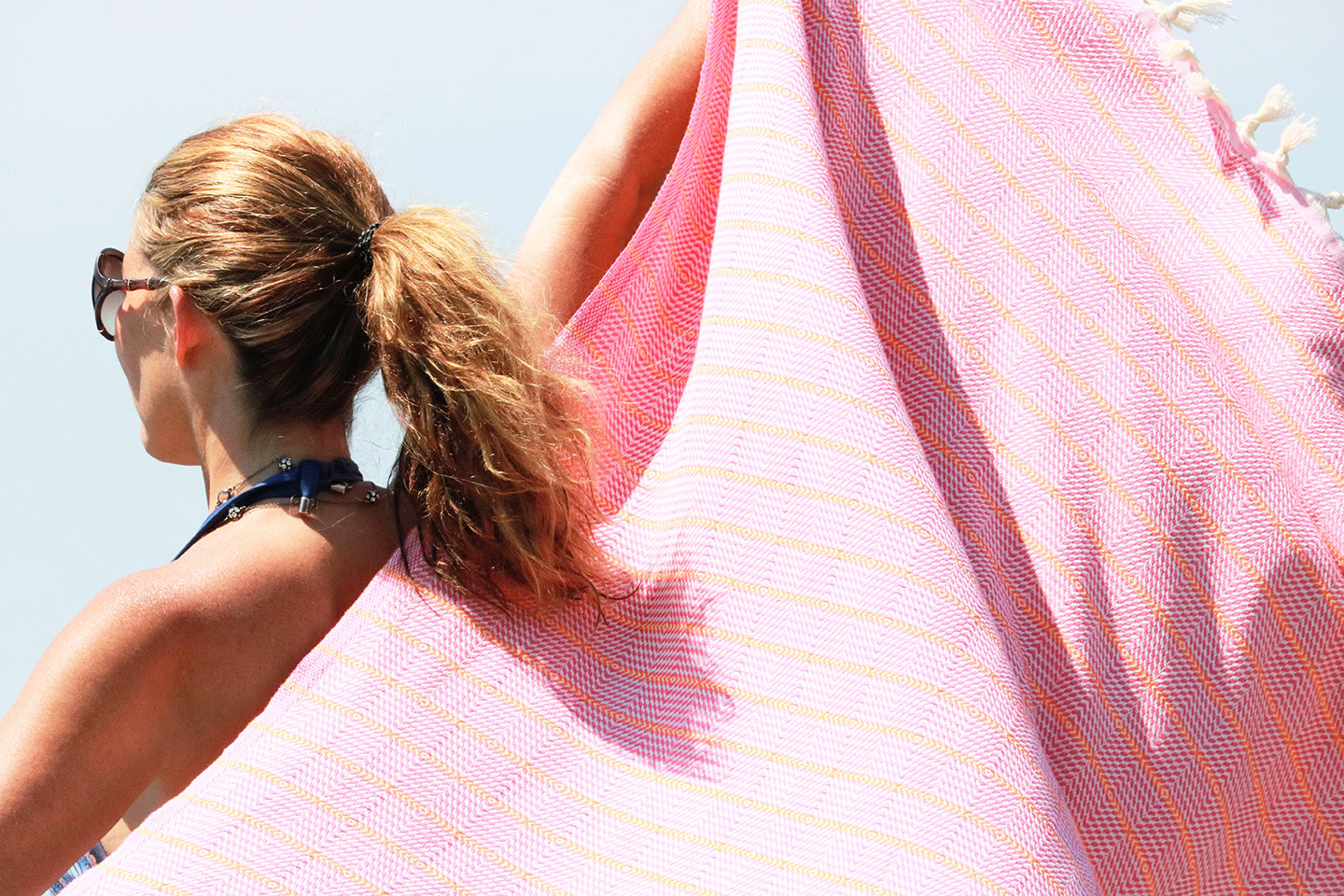 Pink Orange Stripe Quick Dry Peshtemal Turkish Towel - milogiftshop