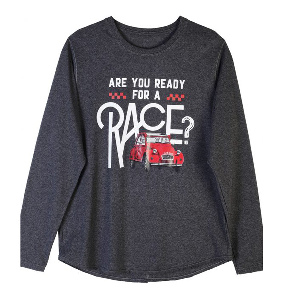 Ready For A Race Grey Long Sleeve T-Shirt (Men's) - milogiftshop