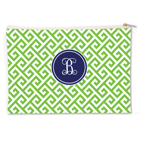 Santorini Green Canvas Flat Pouch