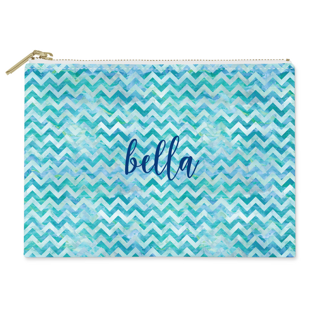 Watercolor Chevron Canvas Flat Pouch - milogiftshop
