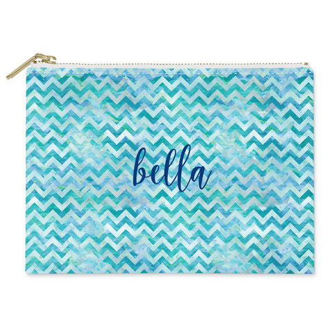 Watercolor Chevron Canvas Flat Pouch