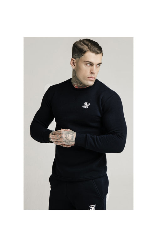 SikSilk Felpa Con Collo Girocollo- Nero