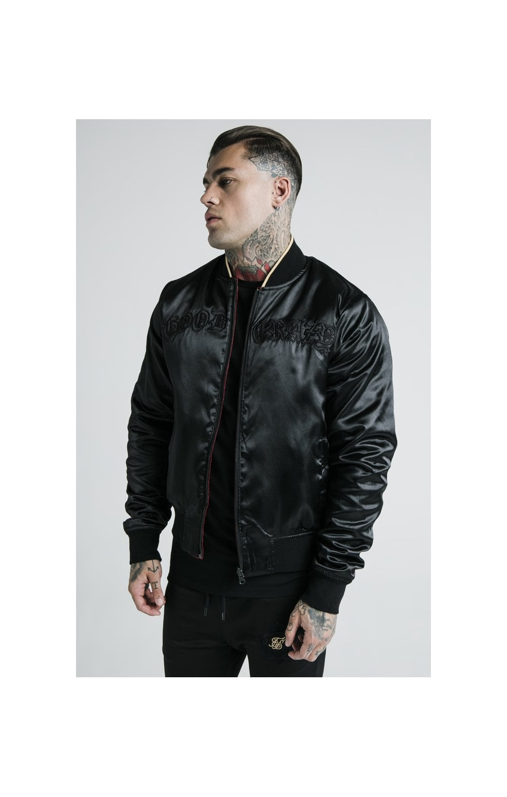 SikSilk X Dani Alves Reversible Bomber - Rosso Scuro & Nero (6)