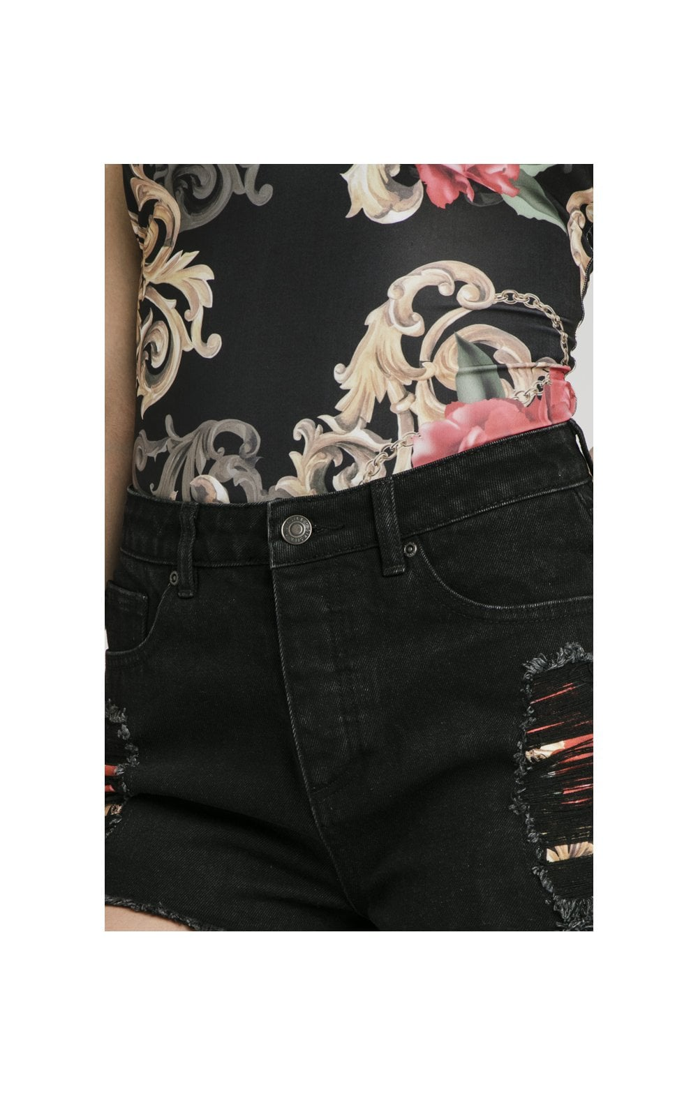 Floral Elegance Denim Shorts - Black (1)