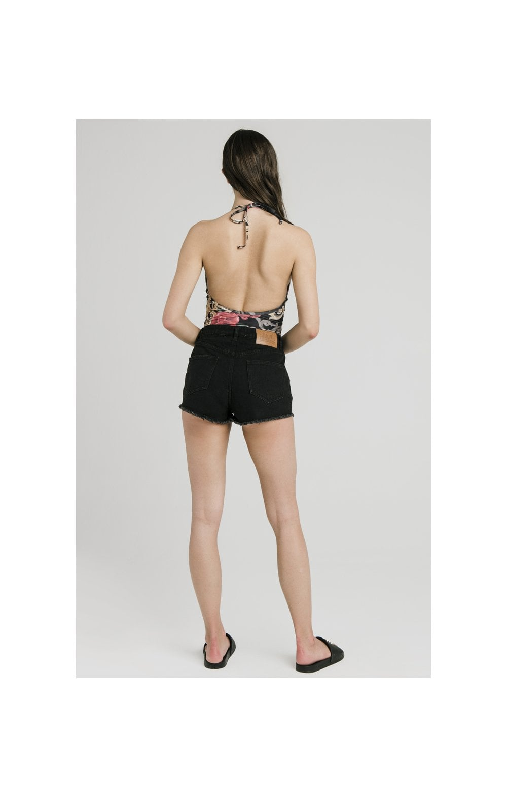 Floral Elegance Denim Shorts - Black (4)