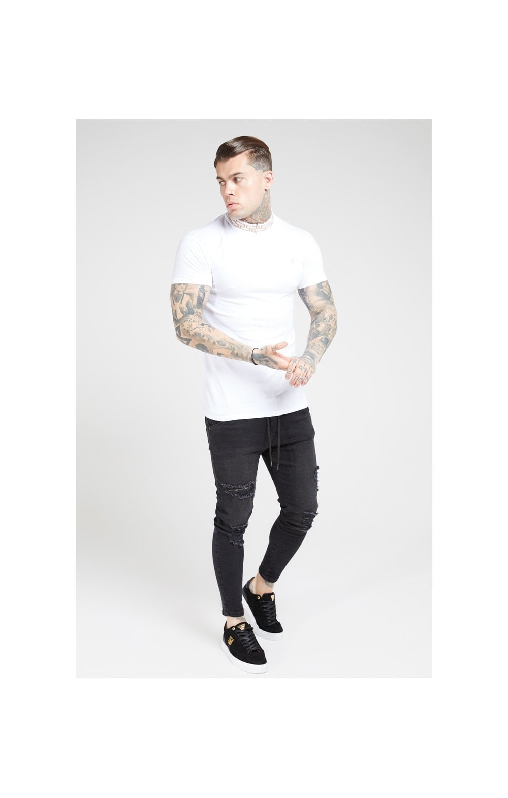 SikSilk P/E Polo Con Colletto A Costine A Catena Bianco (3)