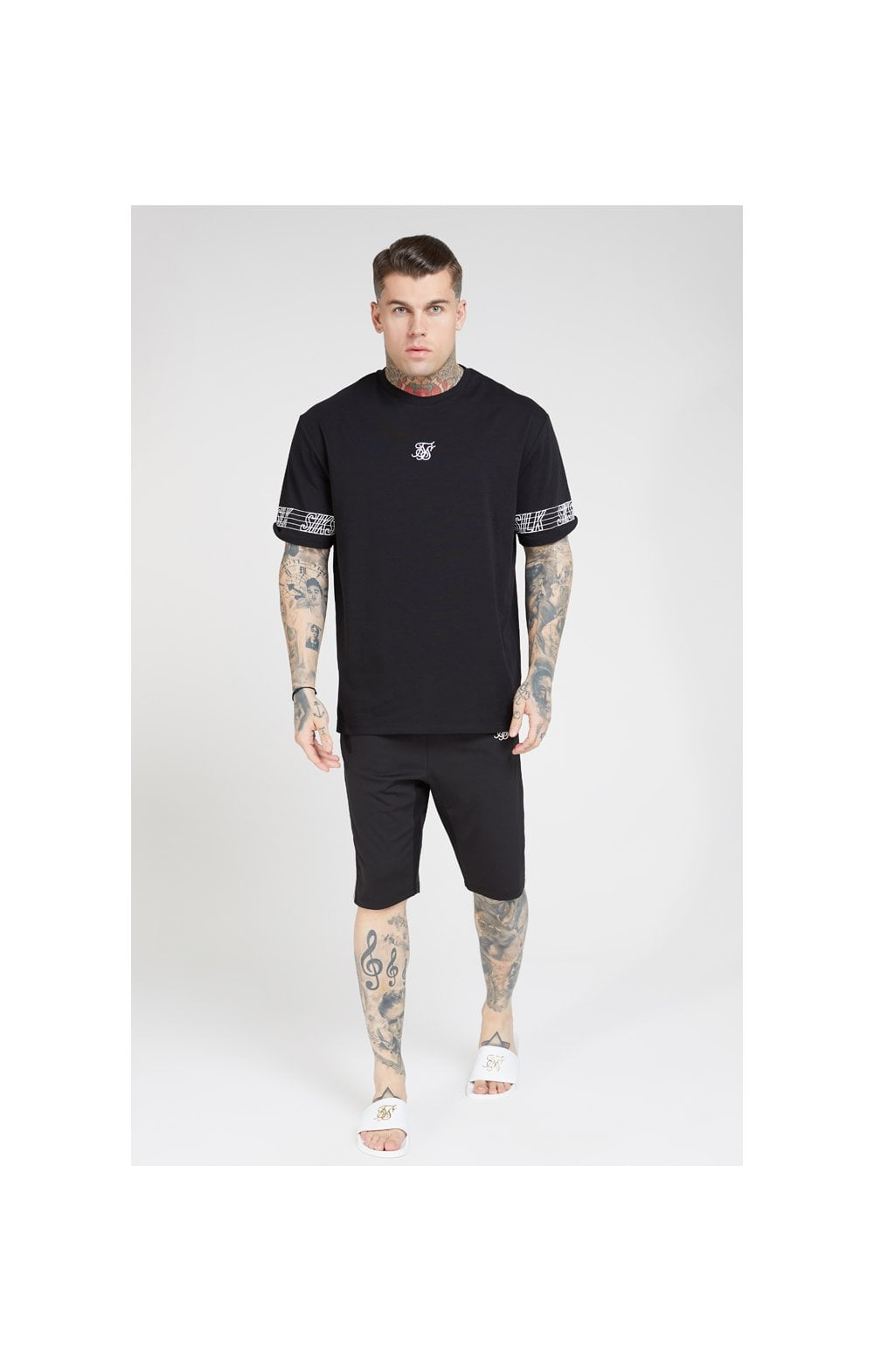 SikSilk S/S Essential Runner Oversized Tee – Black (2)