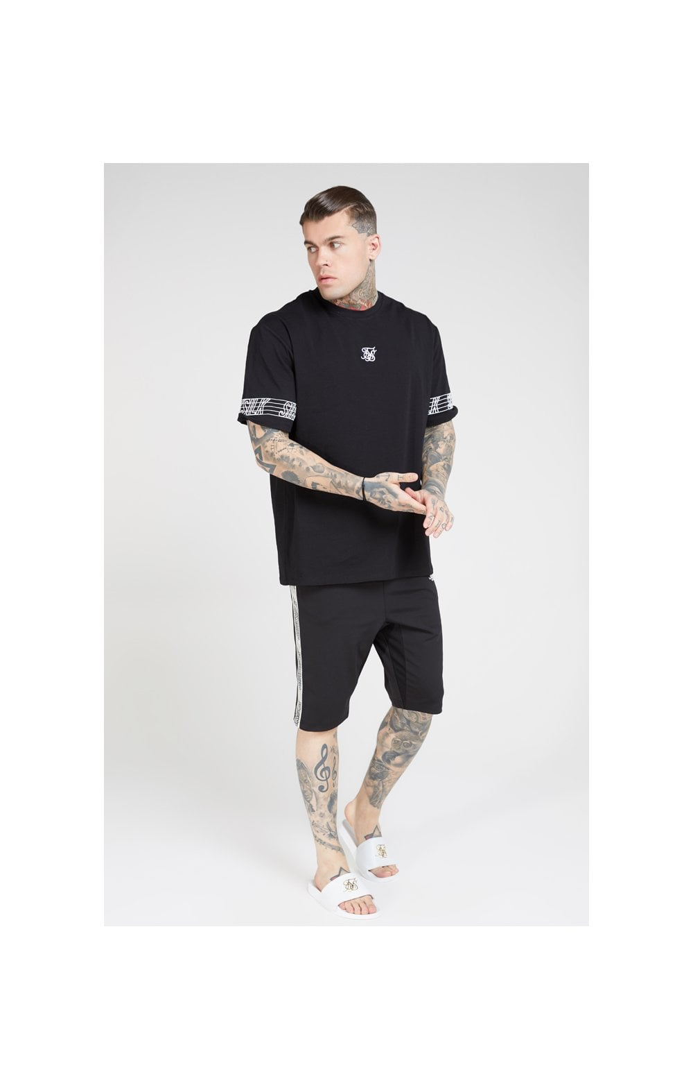 SikSilk S/S Essential Runner Oversized Tee – Black (3)