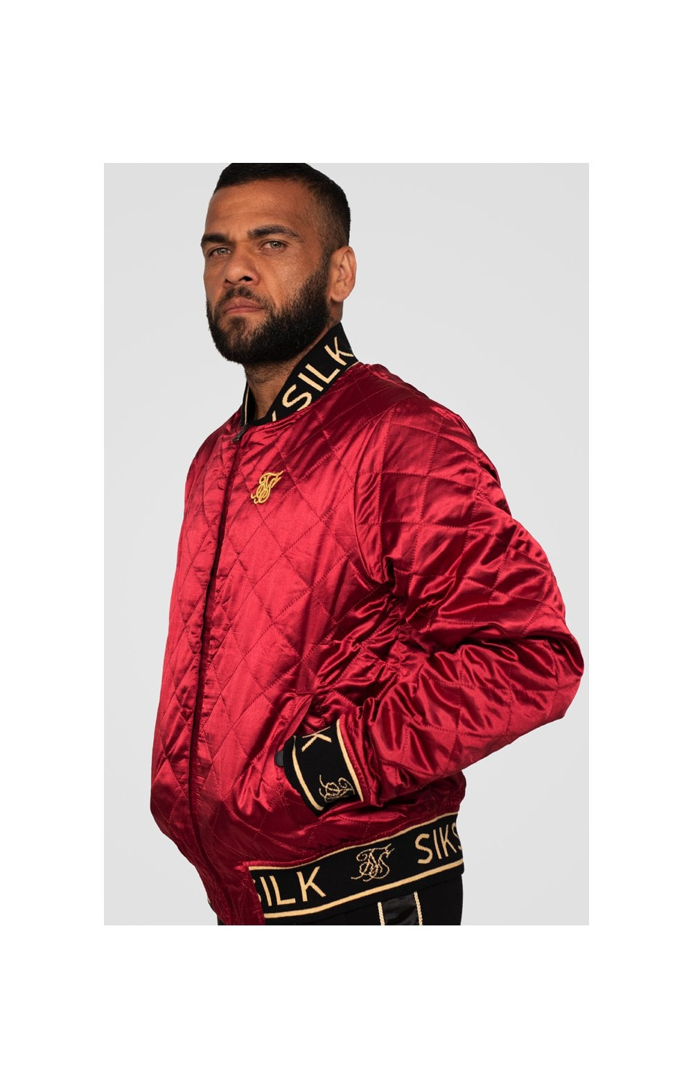 SikSilk X Dani Alves Reversible Bomber - Rosso Scuro & Nero