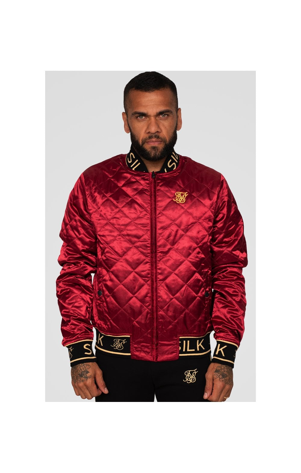 SikSilk X Dani Alves Reversible Bomber - Rosso Scuro & Nero (2)