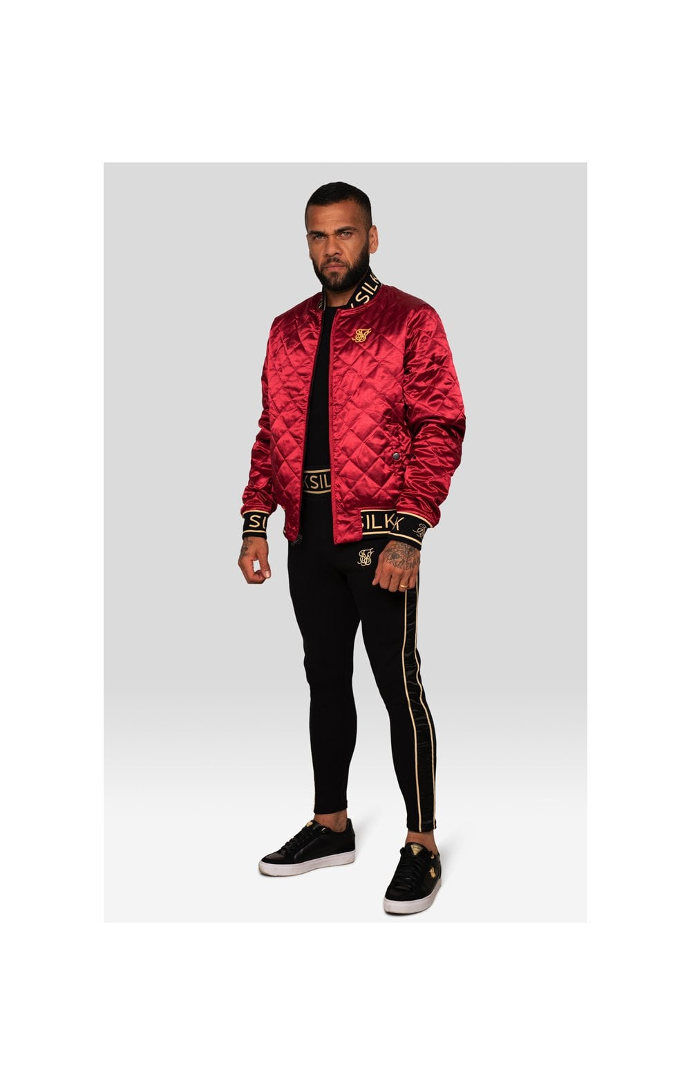 SikSilk X Dani Alves Reversible Bomber - Rosso Scuro & Nero (5)