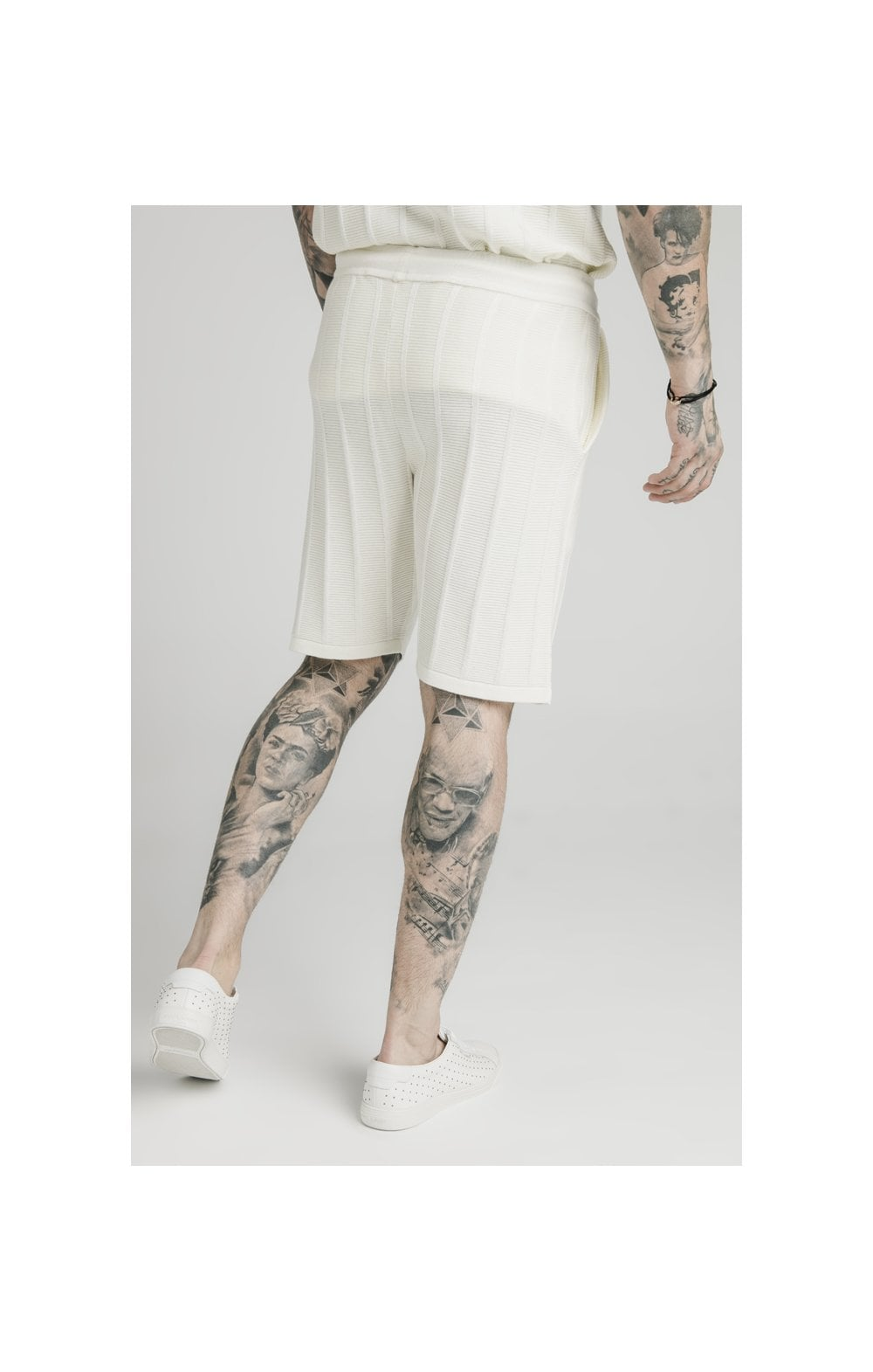 SikSilk Fitted Knit Shorts – Off White (3)