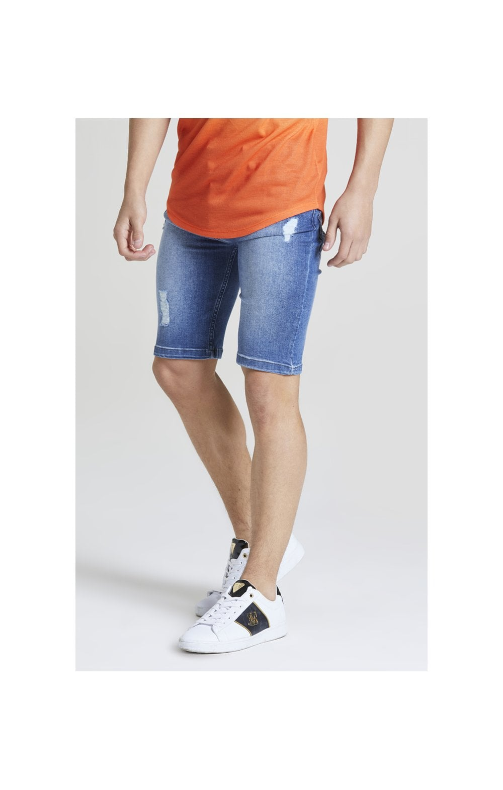 Illusive London Distressed Denim Shorts - Midstone Wash Blue