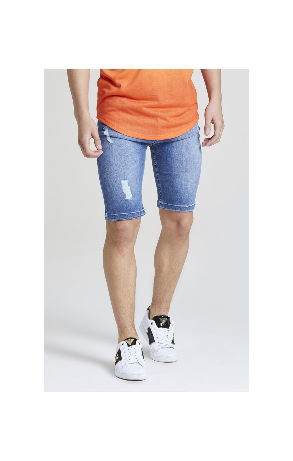 Illusive London Distressed Denim Shorts - Midstone Wash Blue (1)