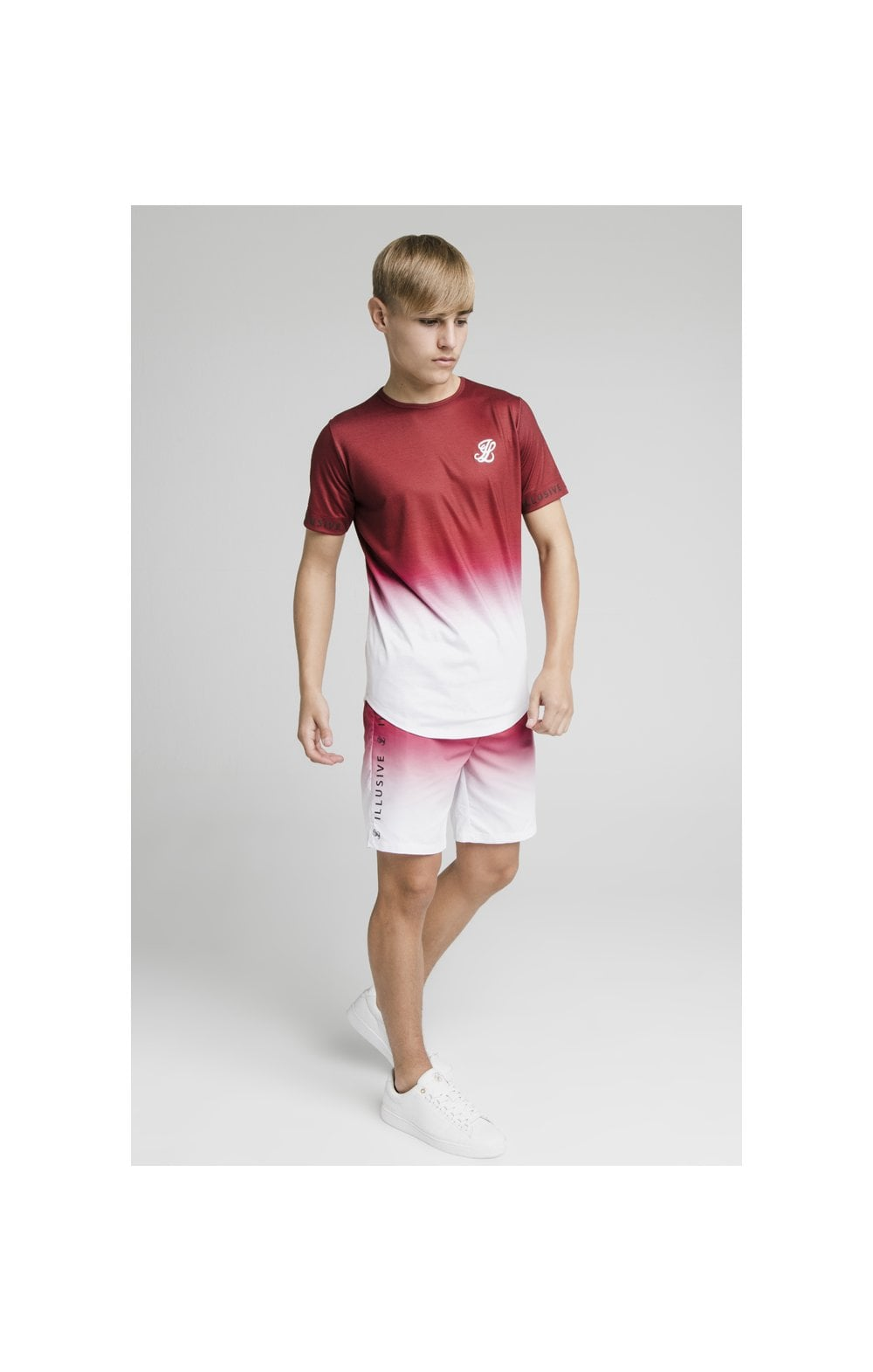 Illusive London Fade Swim Shorts - Red & White (6)
