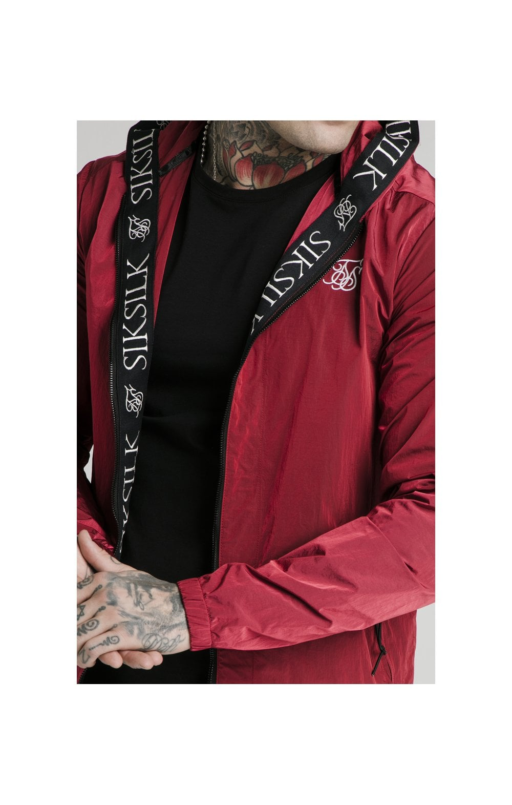 SikSilk Zip Through Windbreaker Jacket - Red (1)